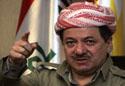 Kurdish President Massoud Barzani speaks during a meeting with tribal members in Arbil